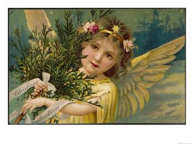 Christmas-Angel-Carrying-an-Armful-of-Ornamental-Foliage-Giclee-Print-C13604969