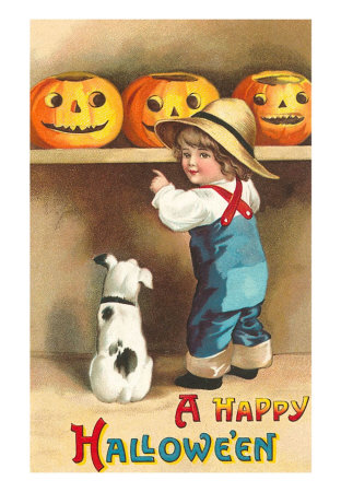 Happy-halloween-dog-and-boy-with-jack-olanterns