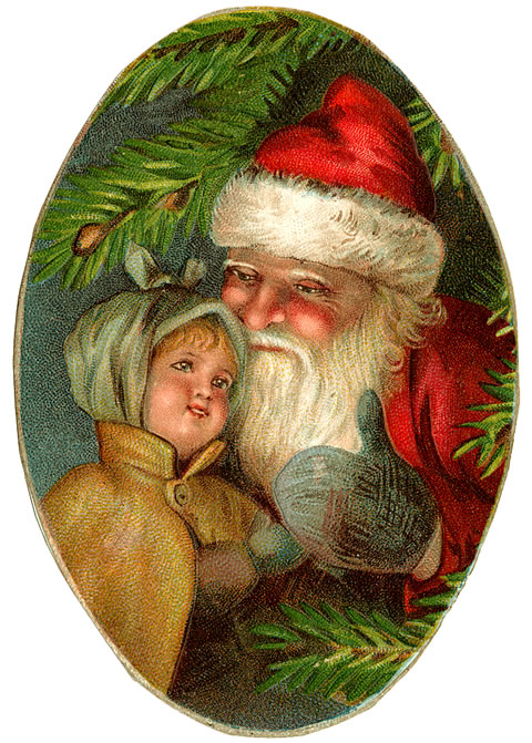 99967x-051 Santa and Girl Oval