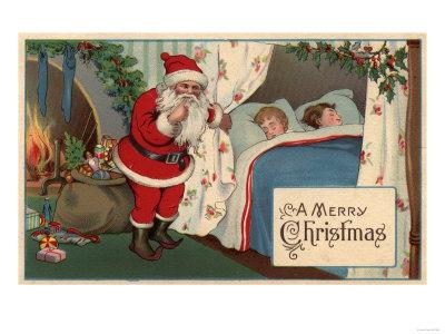 a merry christmas santa observing sleeping children - How To Go To Sleep On Christmas Eve