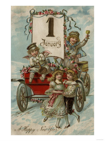 A-happy-new-year--kids-around-a-red-wagon