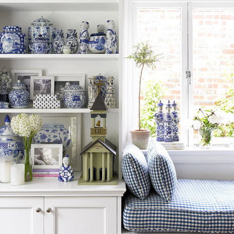 Seasons for all at home decorating with cool blues and white for Decorating with blue and white pottery