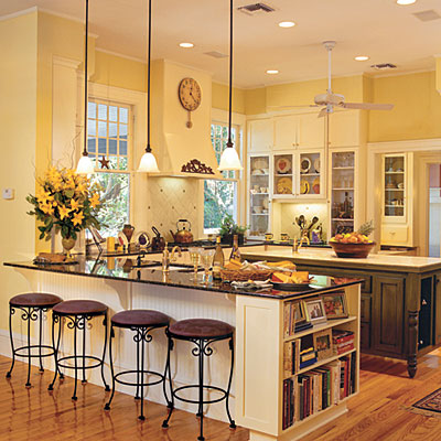 kitchen with yellow walls