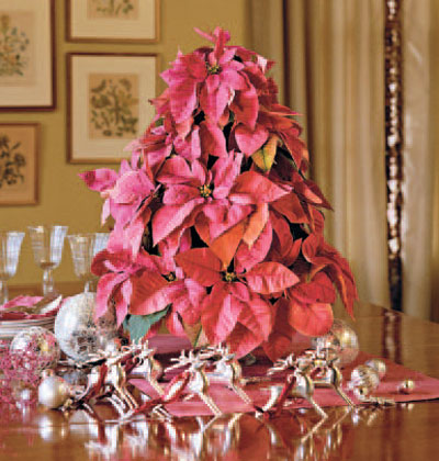 The Tea Room: Tabletop Pink Poinsettia Christmas Tree
